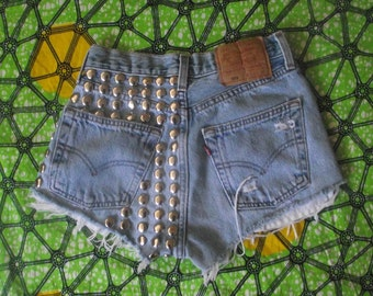Back Dome Studded High Waisted  Vintage Levi Denim Shorts