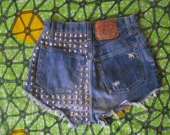 Back Pyramid Studded High Waisted  Vintage Levi Denim Shorts