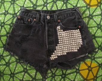 Black High Waisted Aztec Vintage Levi Denim Shorts