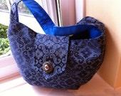 SMALL CLUTCH PURSE Handbag In Blue Brocade
