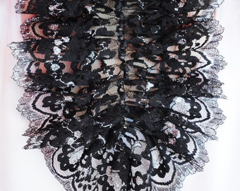Lace jabot, black vintage accessory, romantic frill, collar