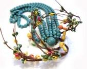 Shabby chic Vintage Tourquoise Japanese Necklace