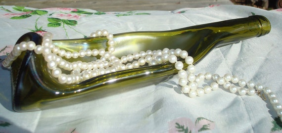 Wine Bottle Serving Dish Repurposed by Garden Daisies Studio