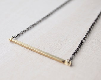 Everyday Necklace : Minimalist Necklace - A Simple Brass Bar