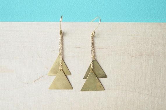 Everyday Earrings : Geometric Brass Triangle Drop