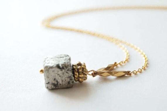 Pyrite Necklace : Single Pyrite Drop