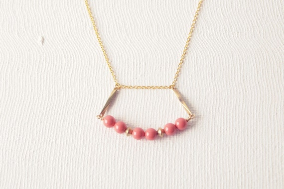 Beaded Necklace : Spring Jewelry - Pink Coral Swarovski that Hangs