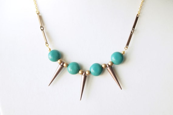 LAST PIECE Spike Necklace - Acrylic Bronze Spikes with Turquoise Round Beads