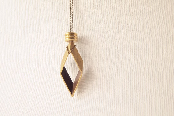Geometric Necklace : Rhombus Pendant with Brass Disc Necklace