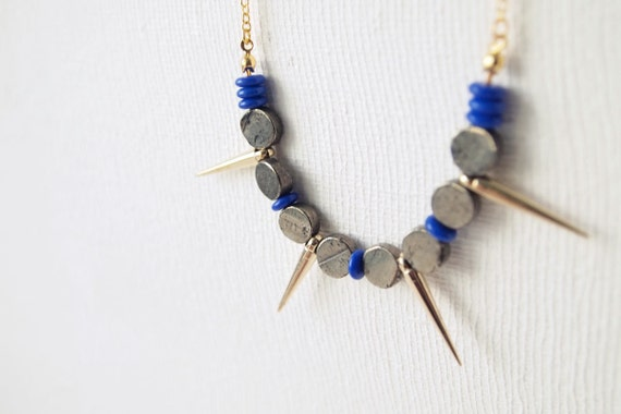 SAMPLE SALE Spike Necklace : Pyrite and Spikes with Cobalt Necklace