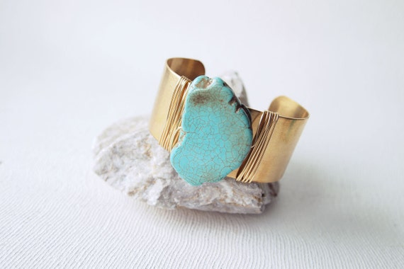Turquoise Cuff : Spring Jewelry, Wired Raw Turquoise Slab Statement Cuff