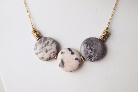 LAST PIECE Statement Necklace : Summer Jewelry - Triple Coin Flamingo Jasper Necklace, Gifts for her