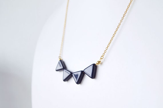 Geometric Necklace : Blue Glass Triangle Buntings