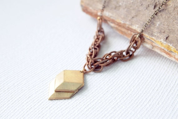 LAST PIECE Geometric Necklace : Spring Jewelry - Brass Chevron Necklace on Vintage Copper Chain