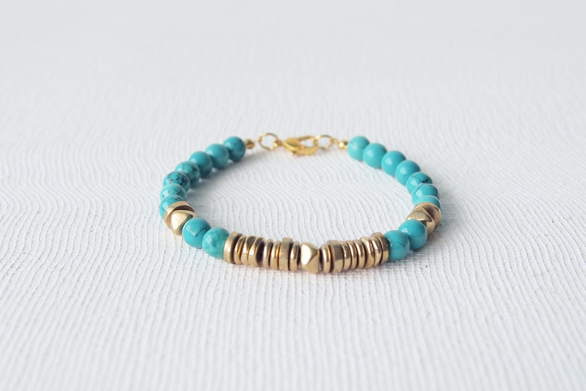 Stack Bracelet : Summer Jewelry Turquoise with Mix Brass