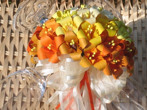 Sunrise Wedding Bouquet - Origami Flower Arrangement