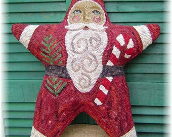 The Country Cupboard Santa is a Star Hooked Rug Hooking Pillow Pattern Christmas Decor