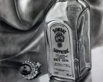 "PRINT-Drawing-glass bottle, Still Life 11"" x 14"""