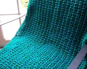 Aqua and Green Loose Stitch Throw or Lap Afghan 102