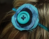 Blue Layered Flower and Button Headband