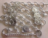 Vintage Silver Coin Ladies Accessorie Belt Light Weight Bright Shiny Adjustable20% OFF AT ChEcKOuT COUPON Code monkey2