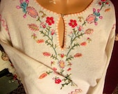 Vintage Embroidered Beaded Ladies Shirt Pink Blue Flowers Curio Company20% OFF AT ChEcKOuT COUPON Code monkey2