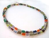 Multicoloured Quartz and Sterling Silver Necklace