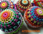Colorful Christmas ball crochet pattern by ATERGcrochet