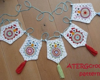 SALE - Crochet pattern owl garland by ATERGcrochet