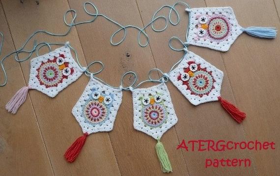 Crochet pattern owl garland by ATERGcrochet