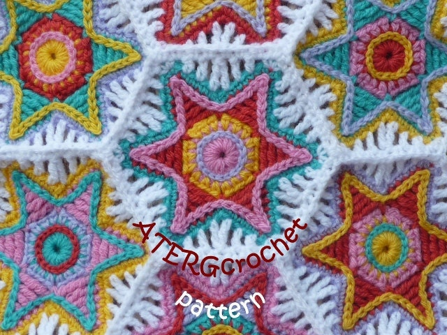 Crochet pattern hexagon falling star by by ATERGcrochet on Etsy