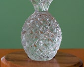Reserved for Pamela - Decorative faceted crystal pineapple on wooden base