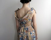 1950's Seashell Day Dress, Blue and Tan