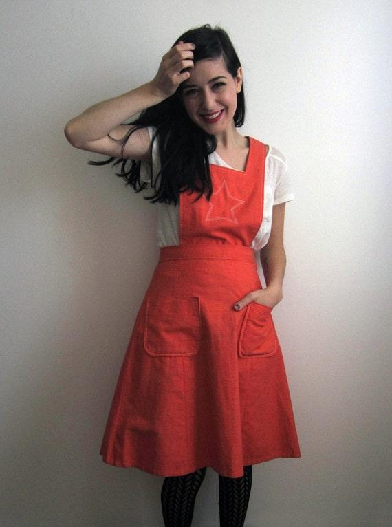 1960's Orange Jumper Dress