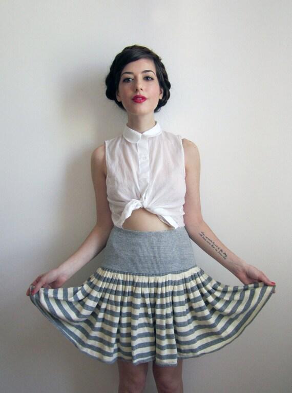 Vintage Norma Kamali Sweater Skirt, Grey Stripes