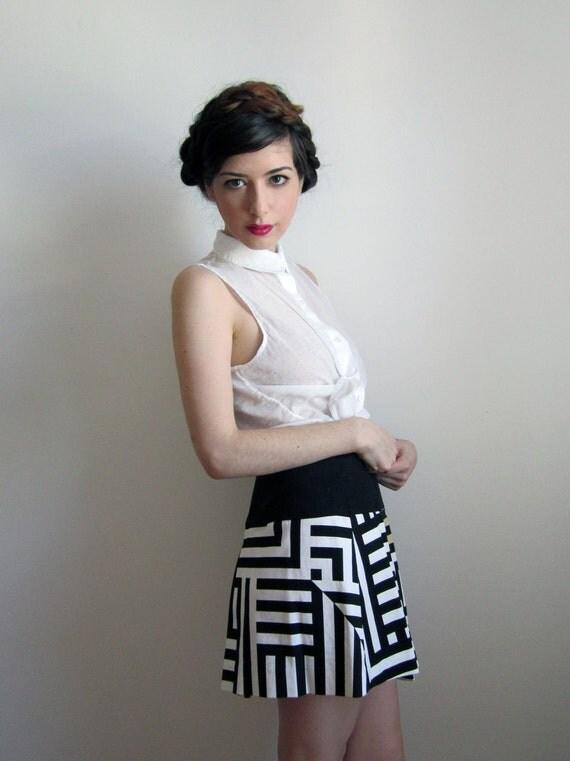80's Ferre Pleated Mini Skirt, Black and White Stripes