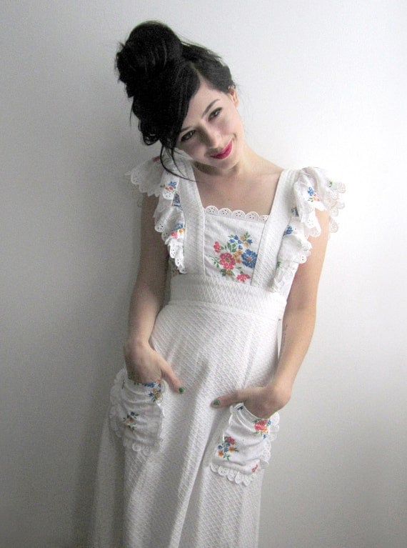 RESERVED for kezia - 70's White Maxi Dress, Eyelet & Floral