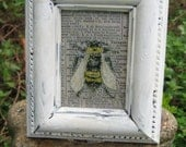 Vintage Bee Print, Vintage Insect Print, Altered Art Collage, Shabby White Framed Bee Art, 4 1/4 inches x 5 1/4 inches