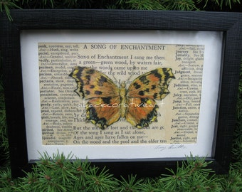 Butterfly, Home Decor, Vintage Specimen Box, Framed Original Artwork Butterly/Antique Book Page Collage Print, 5 1/2 x 7 1/2 inches
