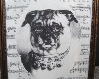 "Vintage Pug Print Home Decor Vintage Inspired Dog Collage Framed 8 3/4"" x 10 3/4"" Victorian Dog Print Antique Sheet Music Collage"