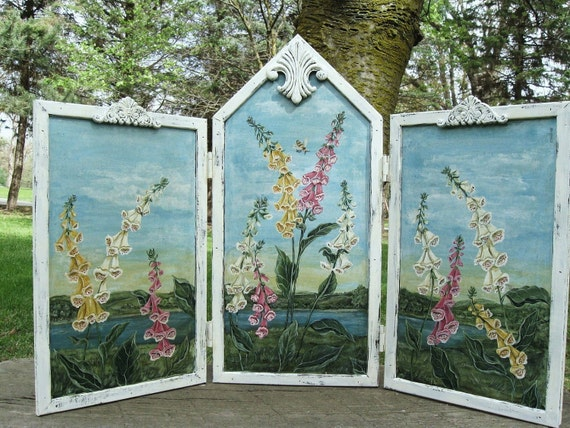 """Botanical Landscape Floral Triptych Painting, Garden Decor, Botanical/Floral Painted Screen, 21"""" x 31"""" Foxglove Painting Three Panel Screen,"""