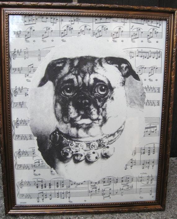 """Vintage Pug Print Home Decor Vintage Inspired Dog Collage Framed 8 3/4"""" x 10 3/4"""" Victorian Dog Print Antique Sheet Music Collage"""