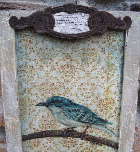 Bird, Vintage Bird Print, Framed Bird Painting, 9 1/4 x 16 3/4, Rustic Primitive Farmhouse Style, Blue and White Bird