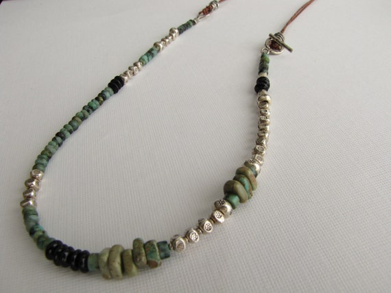Leather Gemstone Silver Necklace