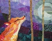 Orange Fox Purple Night - Quilt Fabric Art