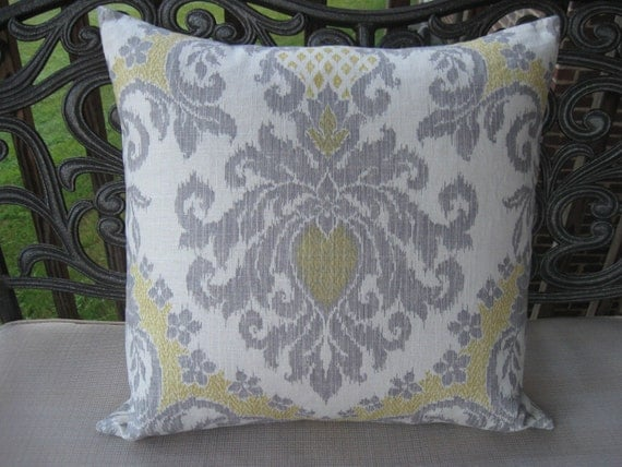 22x22 Decorative Pillows : Decorative Pillow Cover-Yellow and Grey 22x22 ikat