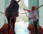 Fine Art Giclee Print of Original Oil Painting of Horse and Rider 8 X 10