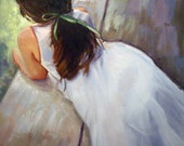 Art Poster Print, Young girl in white dress with green ribbon, Fine Art Giclee Print