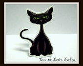Black Cat Plastic  Ring - Adjustable Ring- Handmade