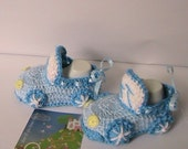 Crochet Baby Booties...White-Blue Baby Boys Cars booties... Cars Booties...Crochet Baby Booties.